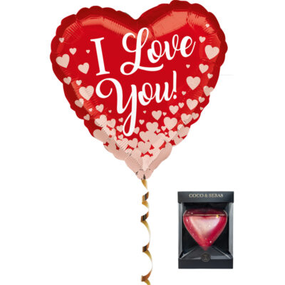 Ballon i love you hartjes met choco hart rood